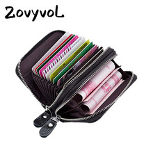 ZOVYVOL 2019 Women Men Large Capacity Business Credit Card Hoder RFID Blocking Card Holders Double Zippe Cards Wallet Brand