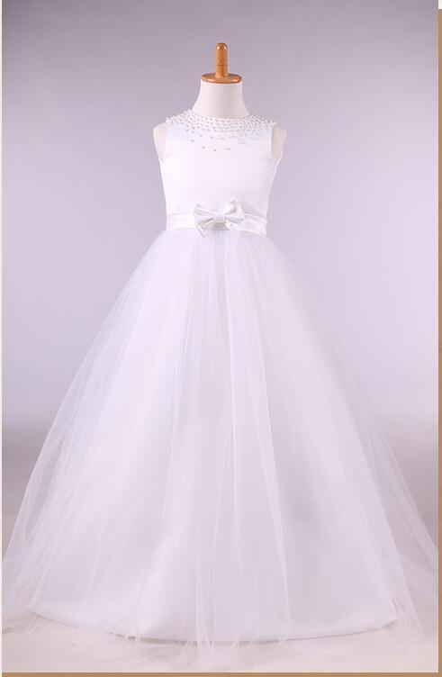 Free Shipping A-Line Flower Girl Dresses White Real Party Dresses Little Girls Kids/Children Dress for Mother Daughter Dresses