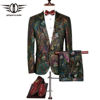 Plyesxale марки 2018 костюм Для мужчин Slim Fit Для мужчин s Пейсли костюм последние конструкции пальто брюки Красочные сцены одежда свадебные костюм