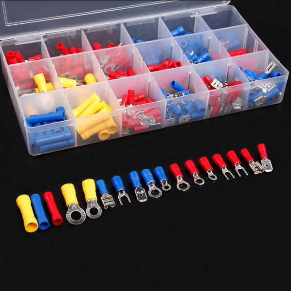 300pcs/lot Electrical Wire Crimp Terminals Kit Insulated Terminator Spade Butt Connectors Red Yellow Blue Assorted terminales 300pcs assorted insulated electrical wire terminals crimp connector spade set red yellow blue