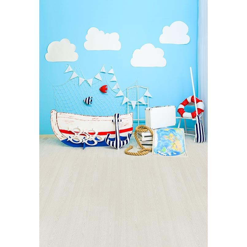 Fondo de fotografía Tema de navegación de pared azul Barco de color - Cámara y foto
