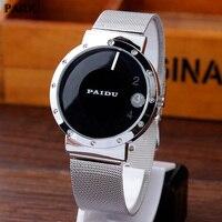 Paidu simple black white metal iron mesh steel turntable dial wrist watch men women girl lady.jpg 200x200