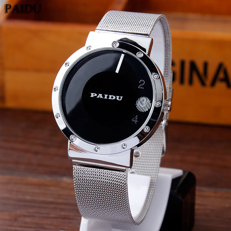Paidu Simple Black/White Metal Iron Mesh Steel Turntable Dial Wrist Watch Men Women Girl Lady Gift