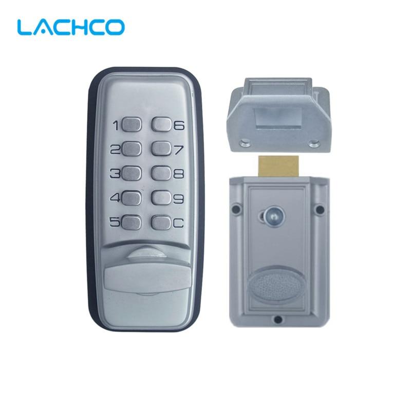 Código de Bloqueio Mecânico LACHCO Digital Máquinas Teclado Senha fechadura Da Porta de Entrada de Aço Inoxidável Liga de Zinco Prata L17005
