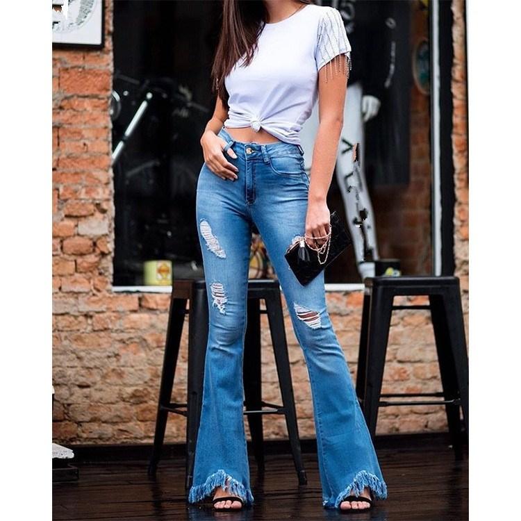 Plus Size Fashion Women High Waist Hole   Jeans   Casual Button Tassel Bell-Bottom Denim Pants Slim Flare Trousers