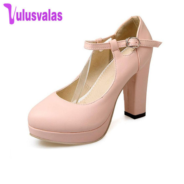 874023844a1 VulusValas Size 34-43 Female Thick High Heels Shoes Women Platform Ankle  Strap Round Toe High Heel Pumps Sexy Party Wedding Shoe