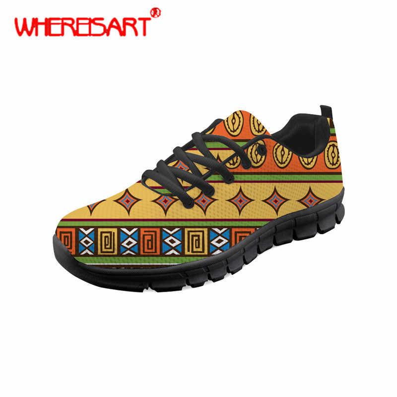 WHEREISART รองเท้าผู้หญิงแอฟริกันแบบดั้งเดิมพิมพ์แบนรองเท้าสำหรับวัยรุ่นแฟชั่นฤดูใบไม้ผลิผู้หญิงรอบ Toe รองเท้าตาข่าย