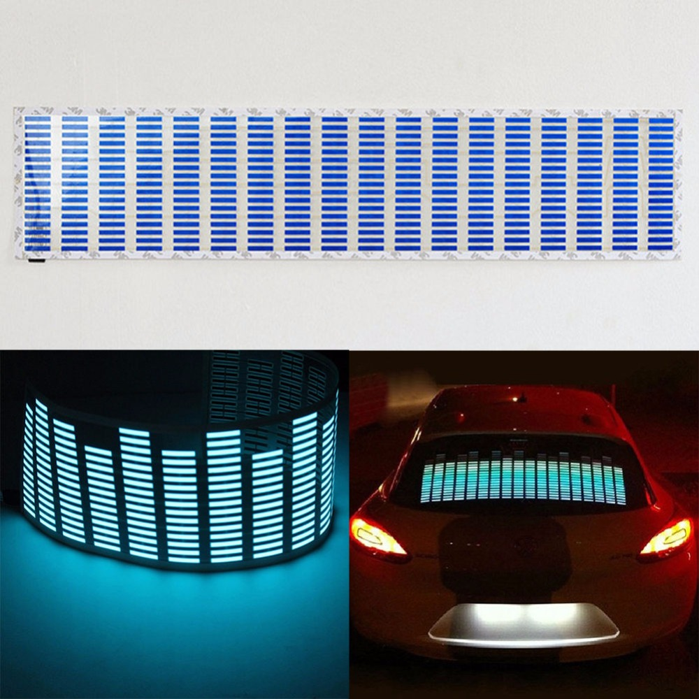 CYAN SOIL BAY Blue Light Car Music Rhythm LED Flash Light Sound Activated Equalizer 90X25CM 70X16CM car light 1pcs 2pcs 45x11cm car music rhythm led flash light lamp sound activated equalizer car light panel lamp 1219