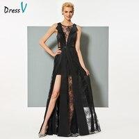 Dressv Black Long Evening Dress Elegant Scoop Neck A Line Zipper Up Sleeveless Wedding Party Formal