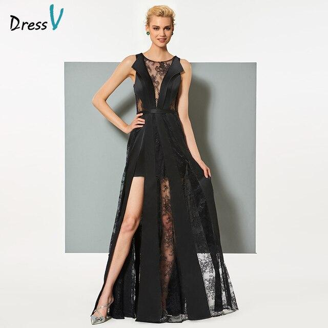 677bd3f796d3 Dressv nero lungo abito da sera elegante scoop neck una linea zipper up  senza maniche festa