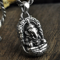 100% Real 925 Sterling Silver Ganesha Buddha Pendants Elephant Gods Amulet Pendant For Men Women Kids Fine Jewelry Best Gift
