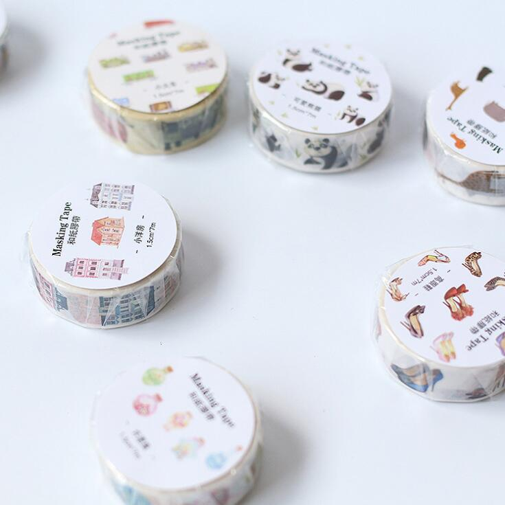 1.5cm Wide Japanese Style Colorful Cartoon Decorative Washi Tape DIY Scrapbooking Masking Tape School Office Supply colorful gilding hot silver alice totoro decorative washi tape diy scrapbooking masking craft tape school office supply
