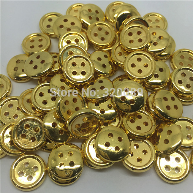 500pcs 13mm Shiny Buttons Round Metallic Gold Botones With 4 Holes Baby Sewing Button For Scrapbooking