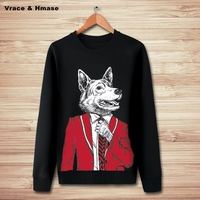 Japanese Style Mr Wolf Lovely Animal Pattern Fashion Hip Hop Hoodies Autumn Winter New Quality Oversize