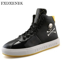 FXDXENEK Fashion New Style Men Casual Shoes High Quality Skull Men Hip Hop Leather Shoes Waterproof