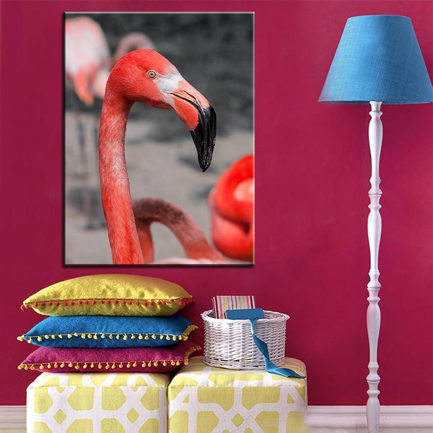 ⊰Impresión de gran tamaño pintura al óleo pájaro flamenco rosa rojo ...
