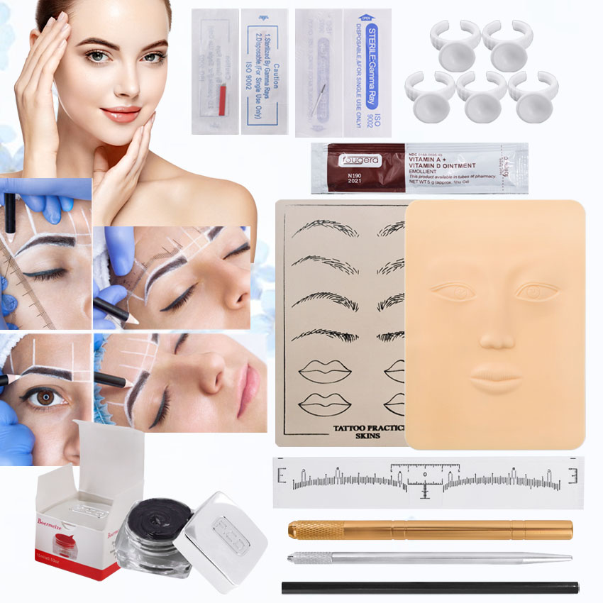 Microblading Kit Beginners Eyebrow Permanent Makeup Set Tattoo Manual Pen 3D Practice Skin Pigment Inks For Starter Tools Supply