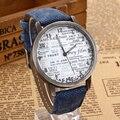 Elegante Unisex Quartz Relógios Homens Sports Relógios horas de Tecido Denim Mulheres Dress Watch relógio de pulso Projeto de papel da notícia