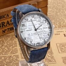 Stylish Unisex Quartz Watches Men Sports Watches Denim Fabric Women Dress Watch news paper wristwatch Design