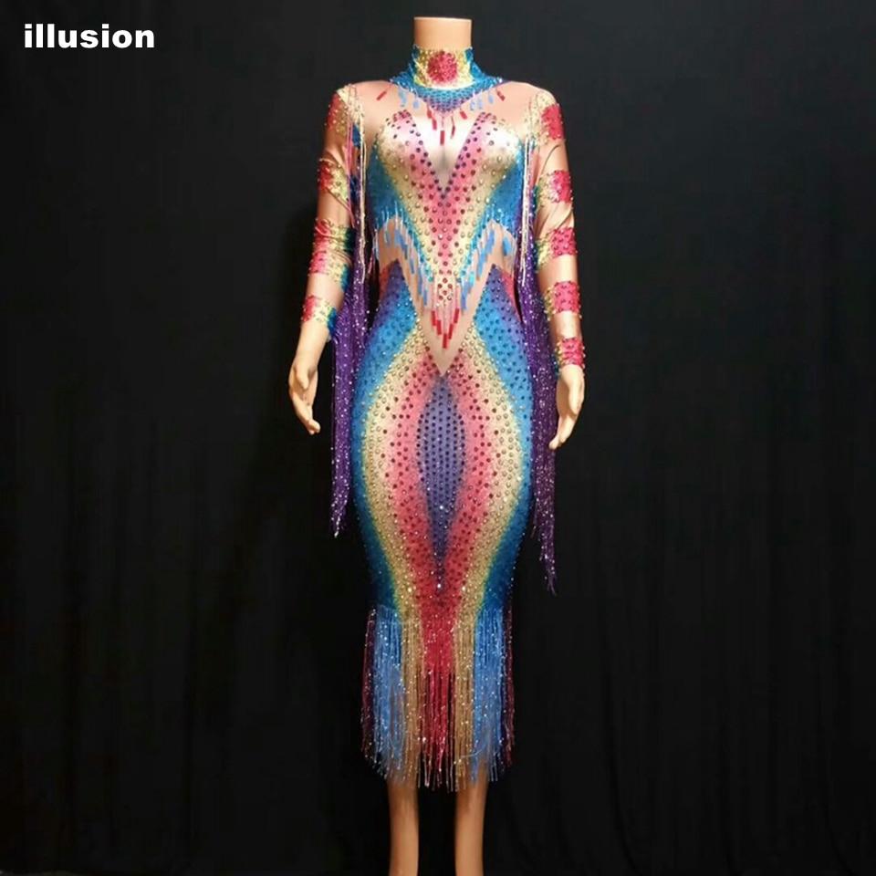 Fashion Colorful Rhinestones Fringes Dress Women Evening Birthday Celebrity Elegant Prom Party Dresses Singer Dance Costume