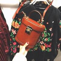 Top Quality Vintage Pu Leather Bucket Box Style Women's Casual Totes Shoulder Bag Ladies Crossbody Messenger Bag Handbag Bolsa