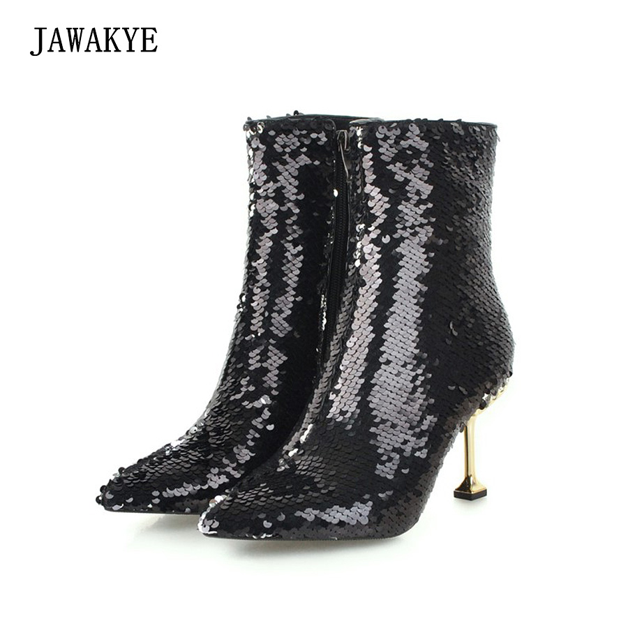 New Sexy Coloured Squines Women boots Pointed toe Metal Thin high heels Ankle Boots for women Bling Party Shoes zapatos mujerNew Sexy Coloured Squines Women boots Pointed toe Metal Thin high heels Ankle Boots for women Bling Party Shoes zapatos mujer