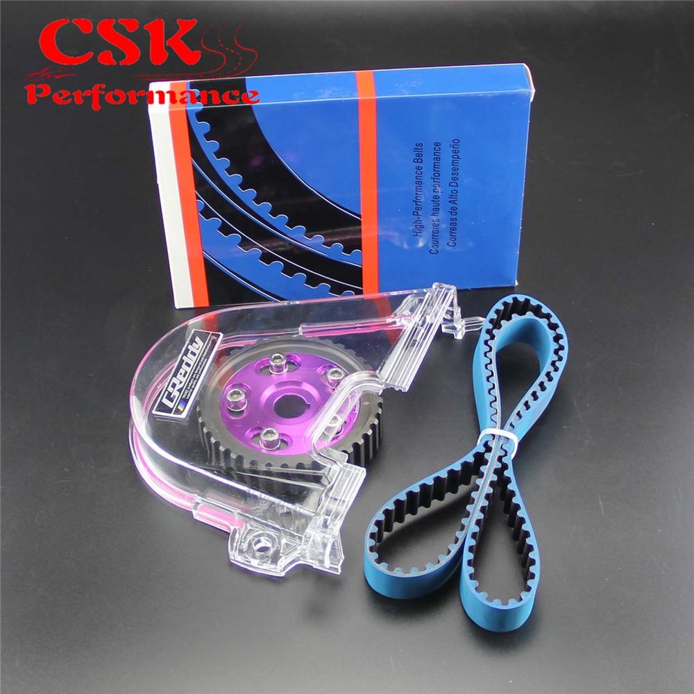 Timing Belt Cover+Cam Pulley w/ Belt Kit Fits For Honda Civic D15 D16C 96-00 Red/Blue/PurpleTiming Belt Cover+Cam Pulley w/ Belt Kit Fits For Honda Civic D15 D16C 96-00 Red/Blue/Purple