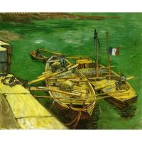 Quay with Men Unloading Sand Barges by Vincent Van Gogh Oil paintings reproduction Landscapes art hand painted home decor