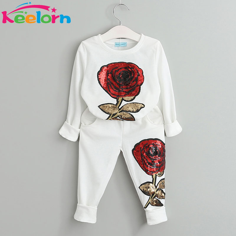 Keelorn Girls Clothing Sets 2018 Spring Wool Sportswear Long Sleeve Roses Floral Embroidered Sequinsets Kids Clothing Sets children clothing sets for girls long sleeve pleuche sports suits embroidered eagle girls outfits spring autumn kids sportswear