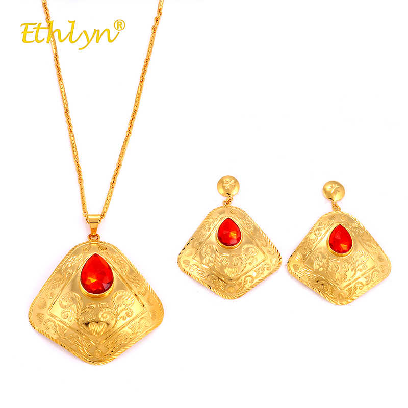 Ethlyn 3 Pcs Schmuck-Set für Frauen Afrika/Mittlerer Osten/Äthiopien Hochzeit Große geometrische Halskette/Ohrringe/ ring Kristall Ethnische S268