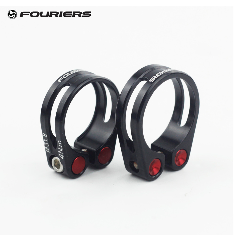 Fouriers Aluminium Seatpost Clamp 31.8mm 34.9mm MTB Road Bike Collar Fixed Bolts Screw CNC Black