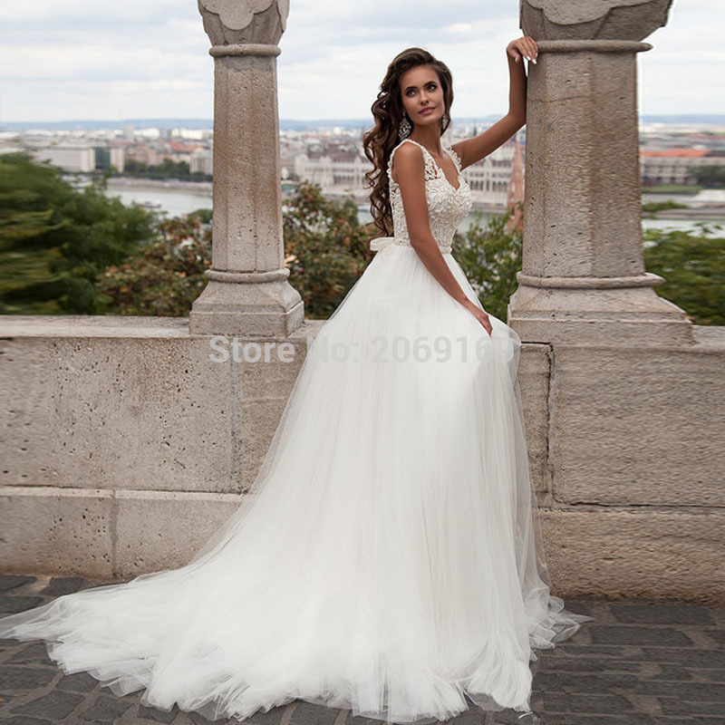 Sexy Wedding Dress Princess Wedding 2020  A Line Lace Open Back Bridal Robe De Mariage Wedding Dresses With Frame