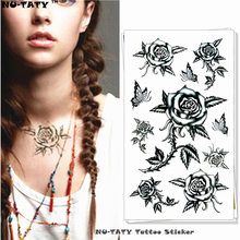 Nu-TATY Sexy Black Rose Temporary Tattoo Body Art Arm Flash Tattoo Stickers 17x10cm Waterproof Fake Henna Painless Tatto Sticker