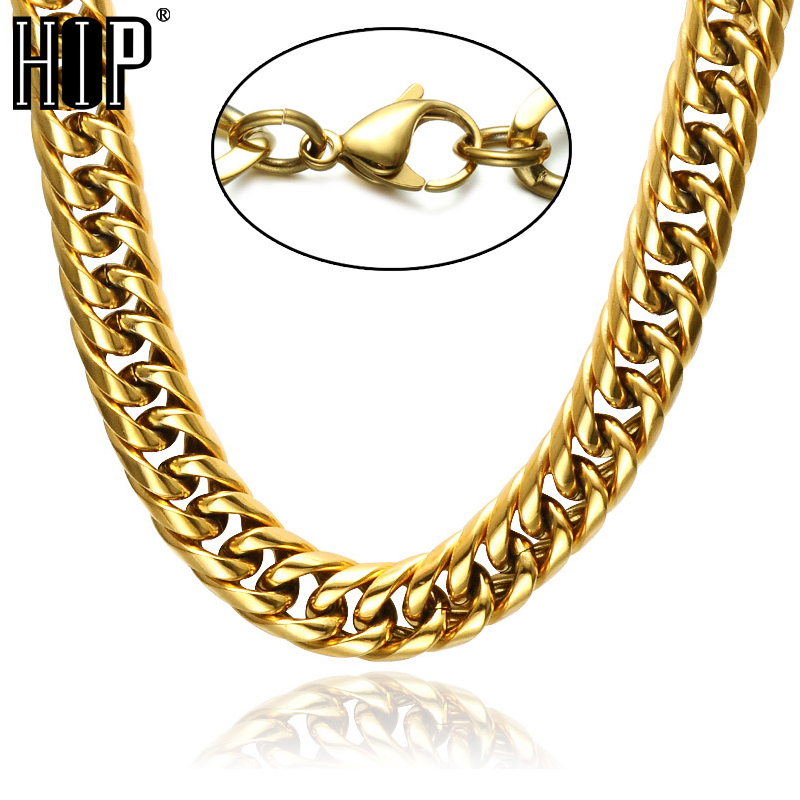 HIP Hop 24 INCH Gold Filled Lobster Buckle Heavy Titanium Stainless Steel Double Curb Cuban Link Chain Necklaces for Men Jewelry