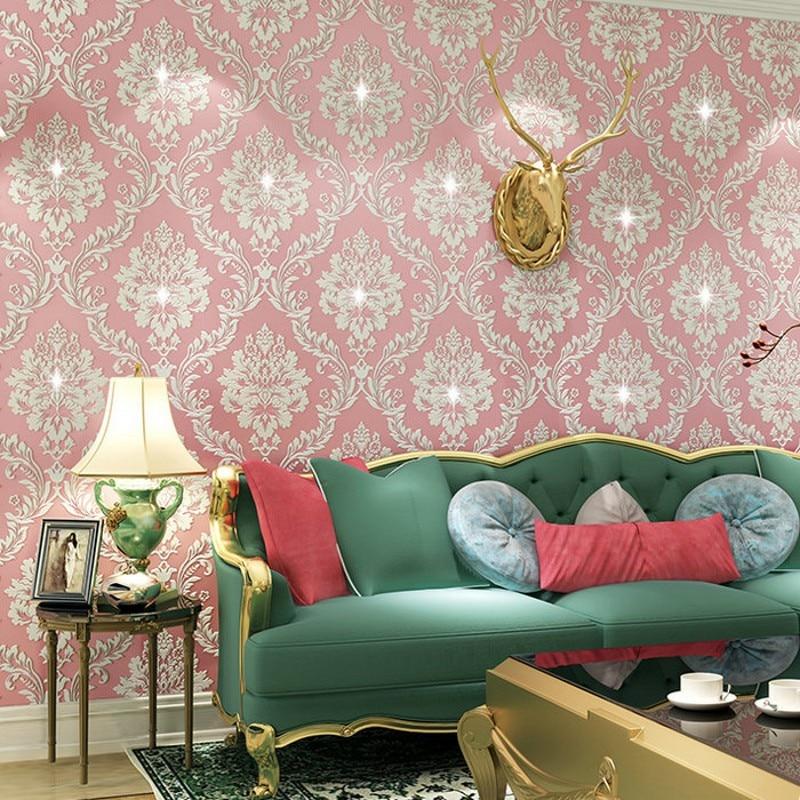 beibehang woven wallpaper embossed diamond 3d Damascus wallpaper ...