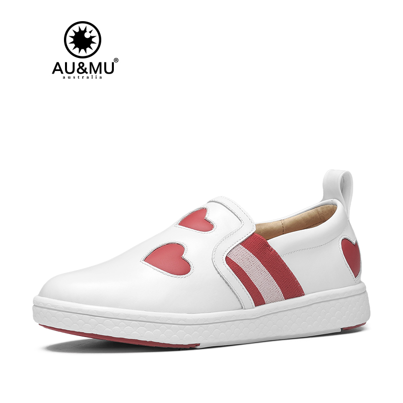 2018 AUMU Australia Heart Shape Printed Pattern Leather Casual Shoes G910 2018 aumu australia rhinestone shiny