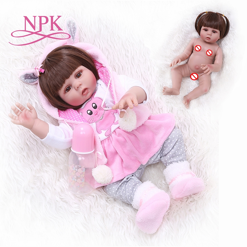 NPK 48CM Bebe Doll Reborn Toddler Girl Doll In Pink Rabbit Dress Full Body Silicone Baby Smooth Long Hair Anatomically Correct