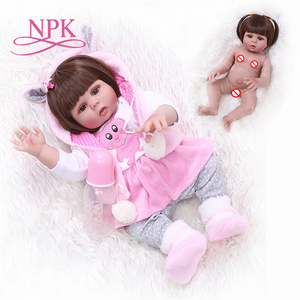 NPK 48CM bebe doll reborn toddler girl doll in pink rabbit dress full body silicone baby smooth long hair Anatomically Correct(China)