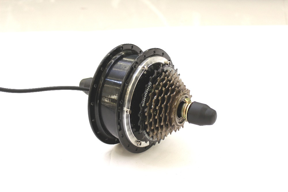 ConhisMotor 24V 36V 48V 350W Ebike Brushless Gearless Rear Wheel Mini Hub Motor With 7 Speed Gear Hub Dropout 135mm цена и фото