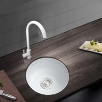 304 Stainless steel White Nano Spray Plating kitchen Bath Sink Faucet Mini Basin Sink Round