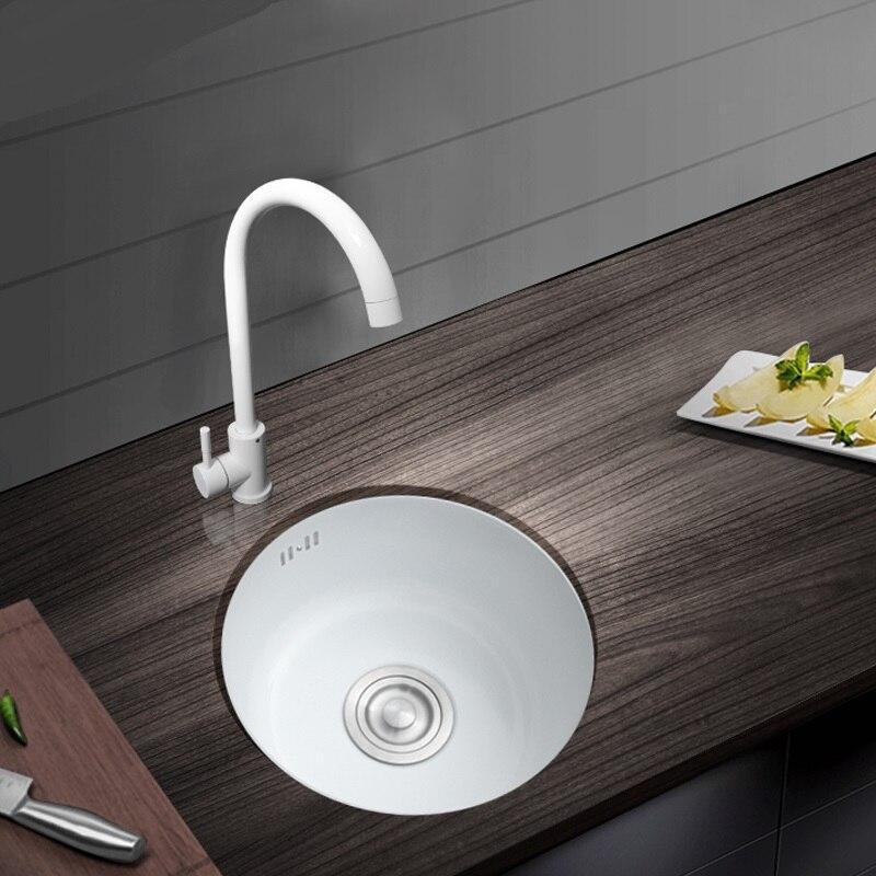 304 acier Inoxydable Blanc Nano Pulvérisation Placage Robinet De cuisine Bain Mini Bassin Évier Rond