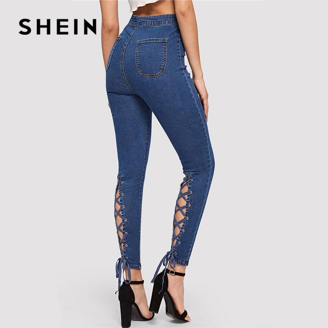 SHEIN Blue Zip Fly Lace Up Crisscross Knot Skinny Jeans Woman Spring Summer High Waist Jeans Stretchy Denim Ladies Trousers