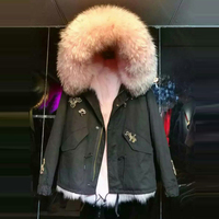 New Arrival showcase light pink winter style women fox fur parka