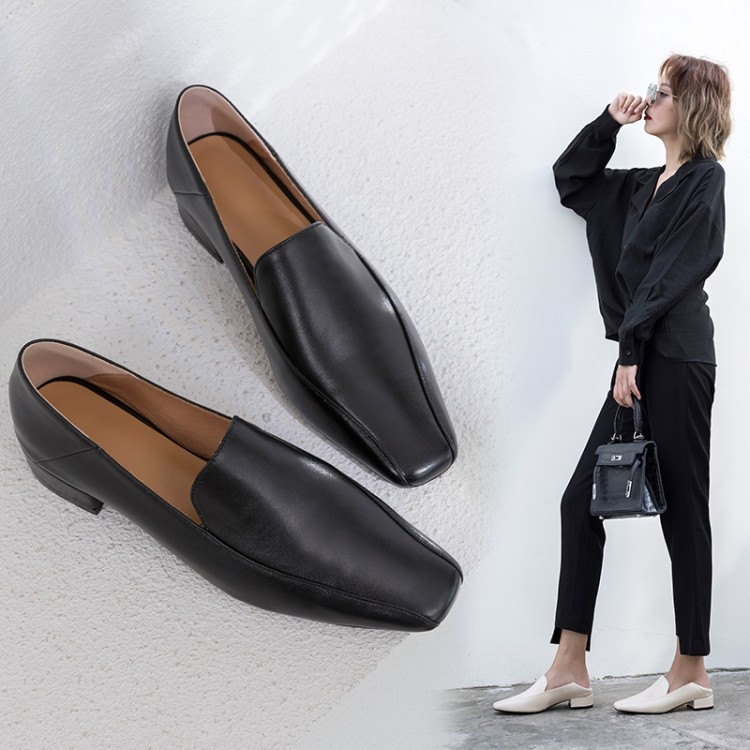 PXELENA Classic Genuine Leather Women Shoes Low Heels Square Toe Slip On Real Leather Pumps 2019