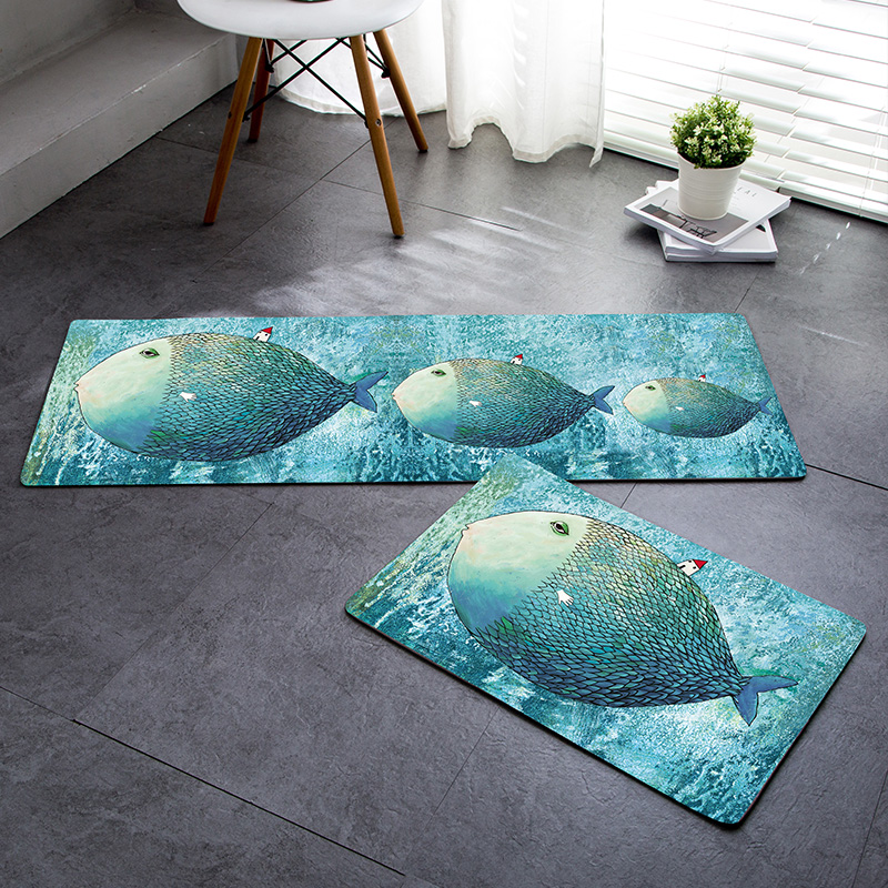 Nordic Cartoon carpet Mediterranean blue mats Bedroom door mat Bathroom toilet Non slip mat fish pattern round rug -in Mat from Home \u0026 Garden on ... & Nordic Cartoon carpet Mediterranean blue mats Bedroom door mat ...