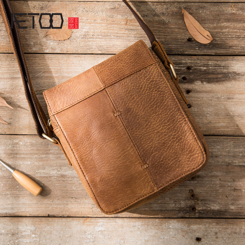 AETOO 2018 new handmade men's shoulder bag casual Messenger bag leather men's bag matte leather summer retro shoulder bag-in Crossbody Bags from Luggage & Bags    1