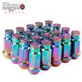 Dyno store-ryanstar 52mm neo chrome tampas de roda de alumínio lug nuts + 20 pcs prolongado tuner + adesivos p12x1.25