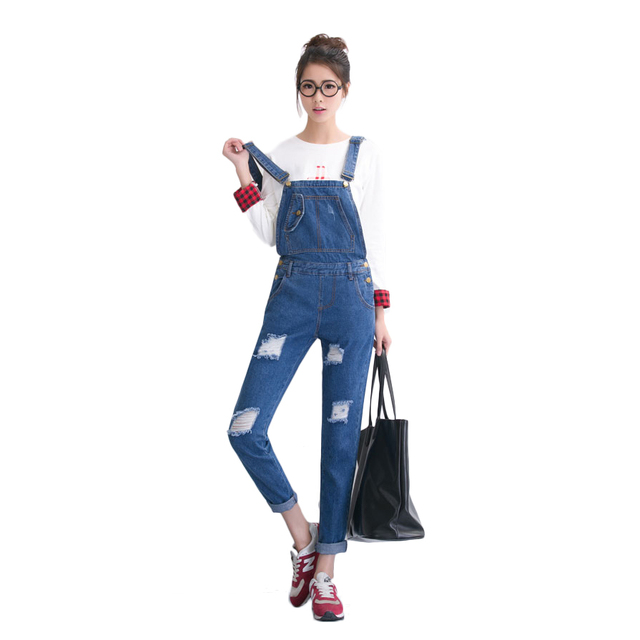 2017 New Fashion Women Long Pants Vintage European Style Blue Strap Ripped Sleeveless Dual Pockets Denim Jumpsuit