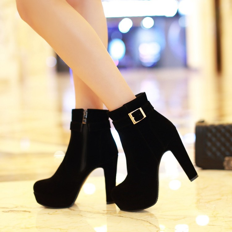 2016 Winter Boots Mujer New Round Toe Buckle Boots For Women Sexy Ankle Heels Fashion Winter Shoes Casual Zip Snow Sx-13 стоимость