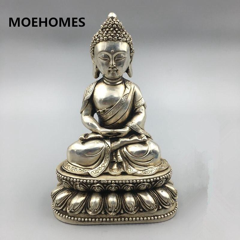 Chinese Buddhism miao Silver bouddha Rulaifo Buddha Statue home crafts metal handicraftChinese Buddhism miao Silver bouddha Rulaifo Buddha Statue home crafts metal handicraft